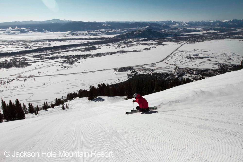 Skiers enjoy groomers at Jackson Hole Mountain Resort. Photo courtesy of Jackson Hole Mountain Resort.  - ©Photo courtesy of JHMR
