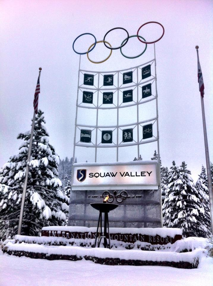 The early season snowfall covers the olympic rings at Squaw Valley.