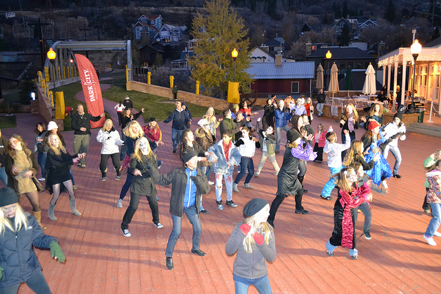 Summoning the snow gods during the Thriller Snow Dance at Park City Mountain Resort