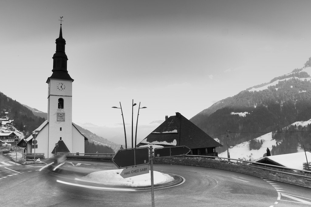 A roundabout in the center of the Swiss village of Val D'Iliez.