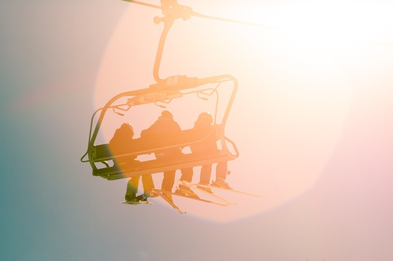 Riding the lift on a perfect fall day.  - ©Liam Doran