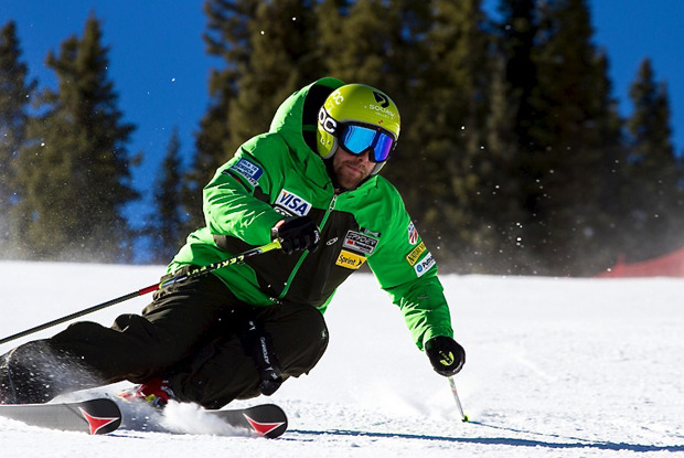 U.S. Ski Team Athlete Travis Ganong takes a high speed turn at Copper Mountain during Wednesday's VIP Speed Center opening.