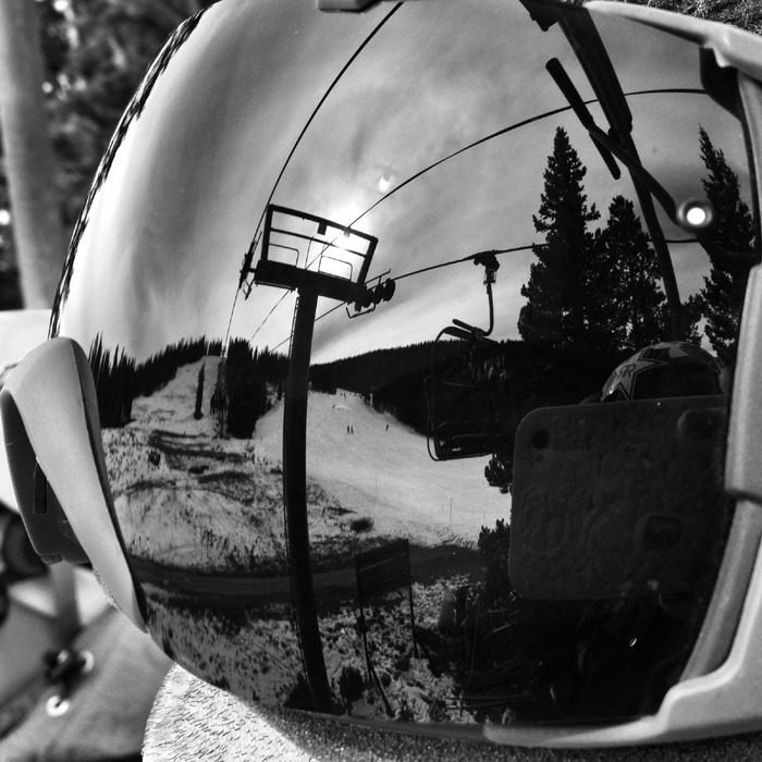 Reflection of Copper off U.S. Freeskiing Slopestyle Coach Skogen Sprang's goggles.  - ©Jen Hudak