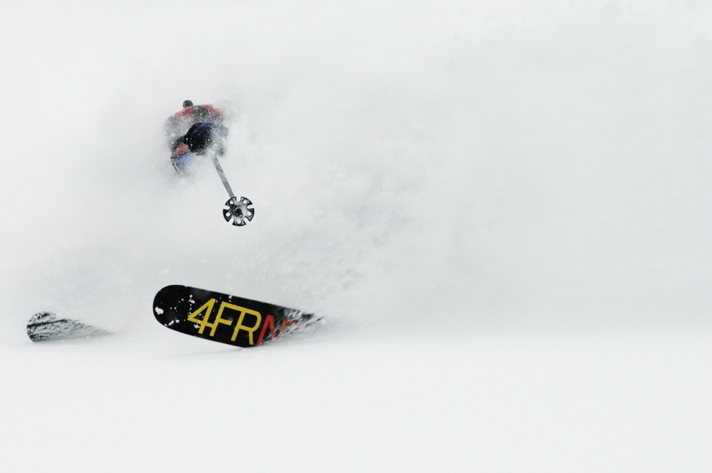 Eric Hjoerleifson blasts through powder at Island Lake Catskiing.