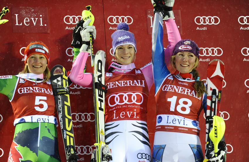 Podium women slalom, Levi 2012 - ©Agence Zoom