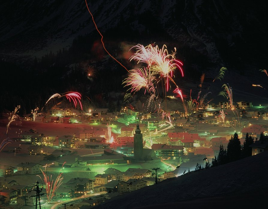 New Year fireworks in Lech Zuers, Austria