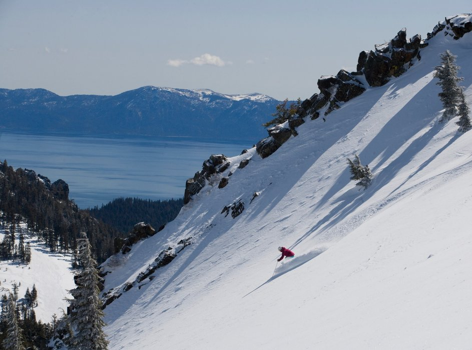 Riding powder in Alpine Meadows. - ©Credit Robyn Scarton