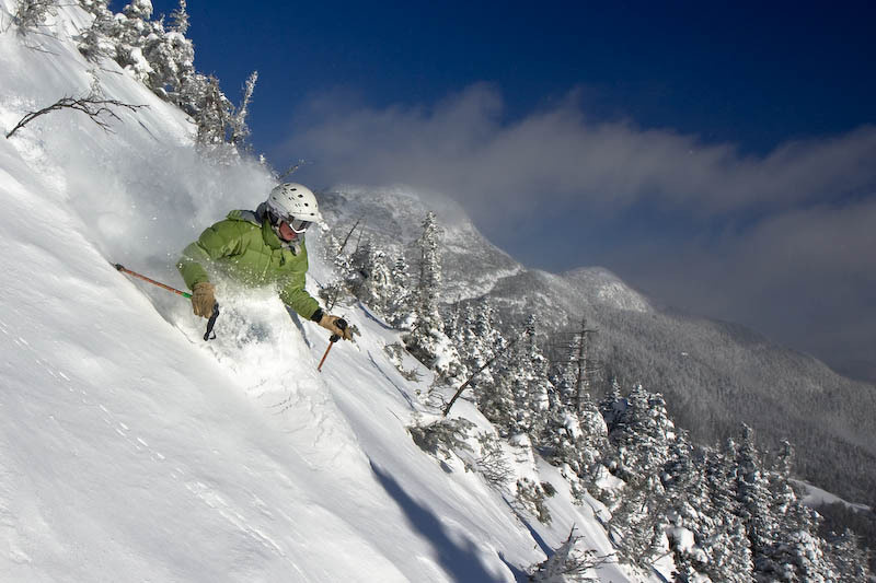 Waist deep pow above the treeline on Mt. Mansfield. Photo Courtesy of Stowe Mountain Lodge.