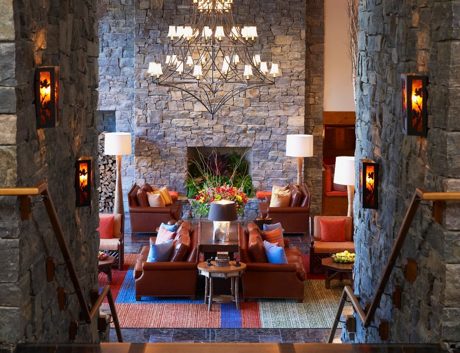 Main Lobby view from Hourglass Bar. Photo Courtesy of Stowe Mountain Lodge.