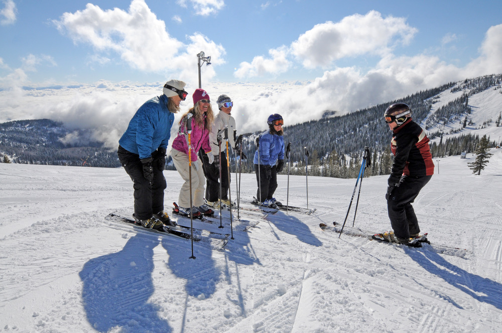 Women in a lesson at Schweitzer. Photo courtesy of Schweitzer Mountain Resort.