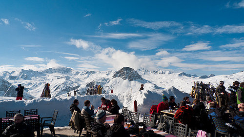 Lunch with views across the peaks, Val d'Isere - ©Steve Johnson