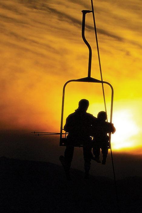 Sunset on Chair 2 at Alyeska Resort. - ©Joseph Connolly/Alyeska Resort.