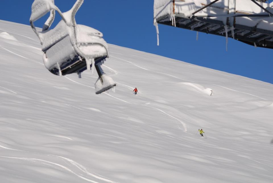 Snow-filled chairlifts in Artesina-Mondolè Ski. Dec. 2, 2012