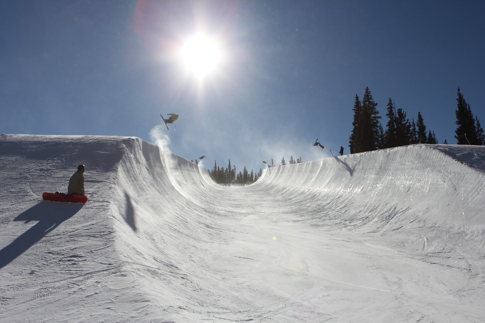 Simon Dumont trains in Copper Mountain's superpipe.