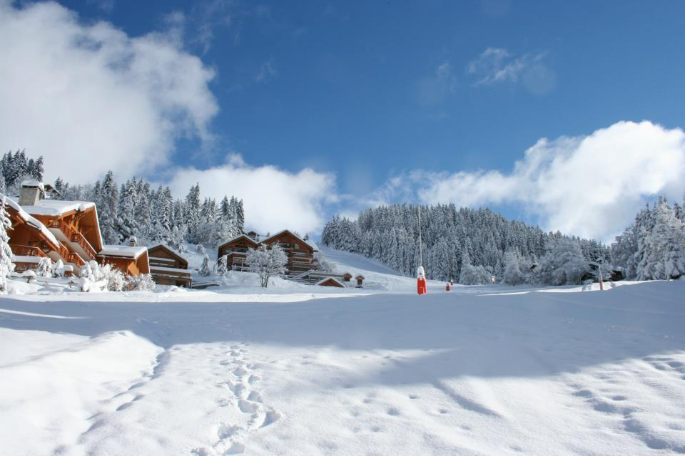 Snow-covered slopes on opening day in Meribel. Dec. 8, 2012