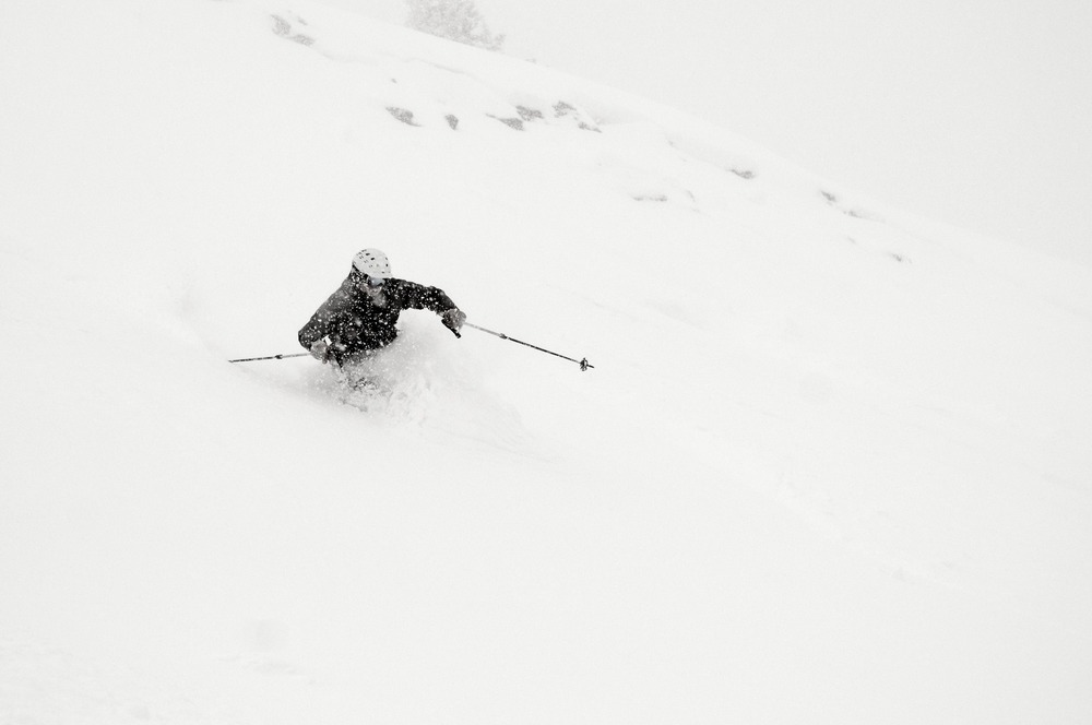 Storm skiing with Eric Rasmussen, owner of Mountain Nomads at Wolf Creek, Dec. 15, 2012.