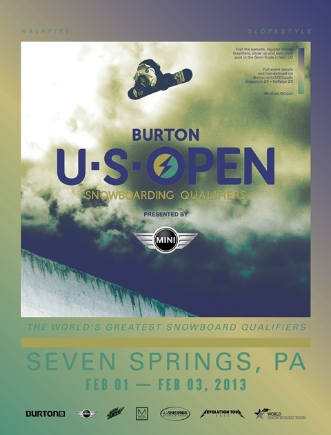 The Burton US Open Snowboarding Qualifiers poster for 2013. Photo Courtesy of Seven Springs.