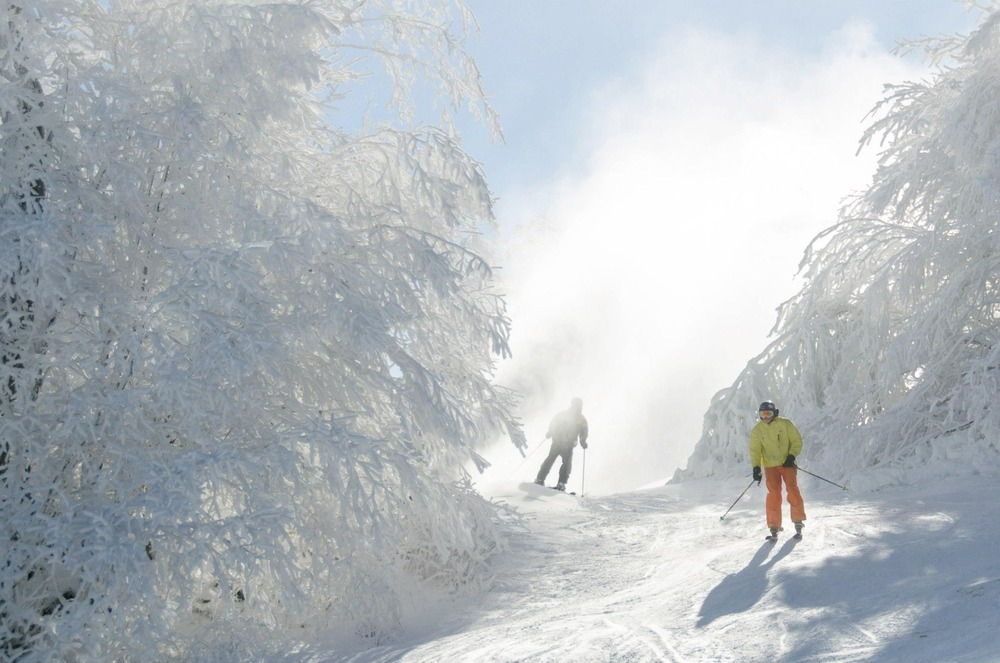Skiing through a snowmaking cloud at Beech Mountain Resort. Photo Courtesy of Ski Beech.