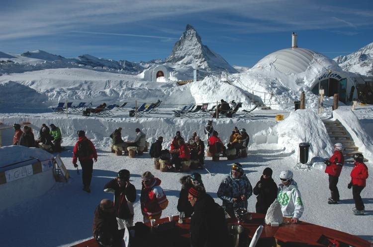 Breathtaking views of the Matterhorn from the Igloo Bar, Zermatt.