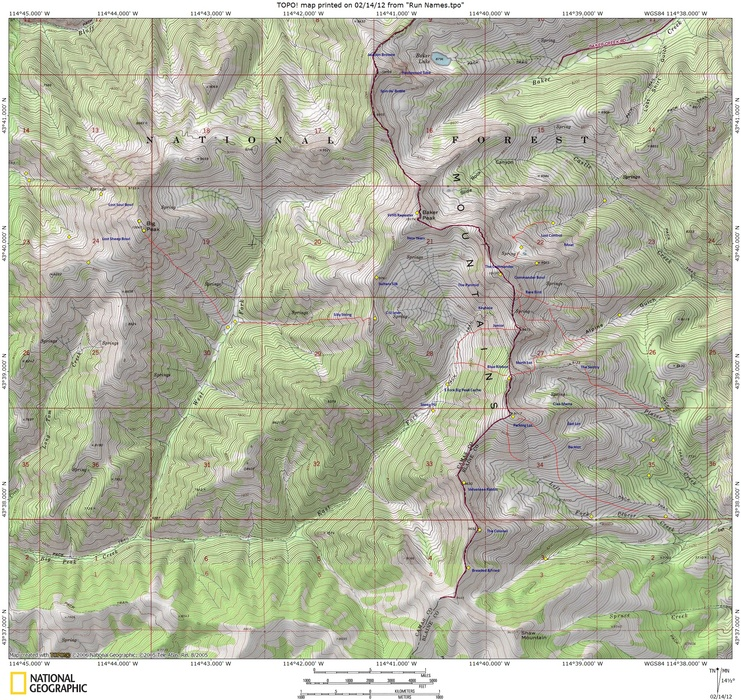 The Sun Valley Heli-Ski Guide Terrain Map.