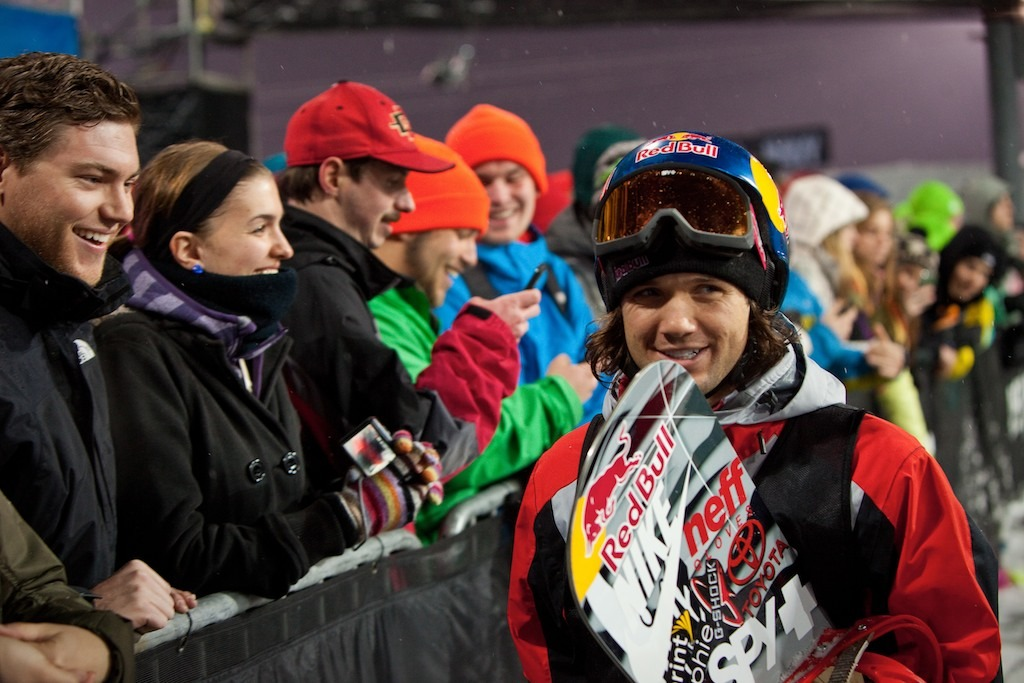 Loui Vito smiles after squeaking into the finals of Snowboard Superipe.