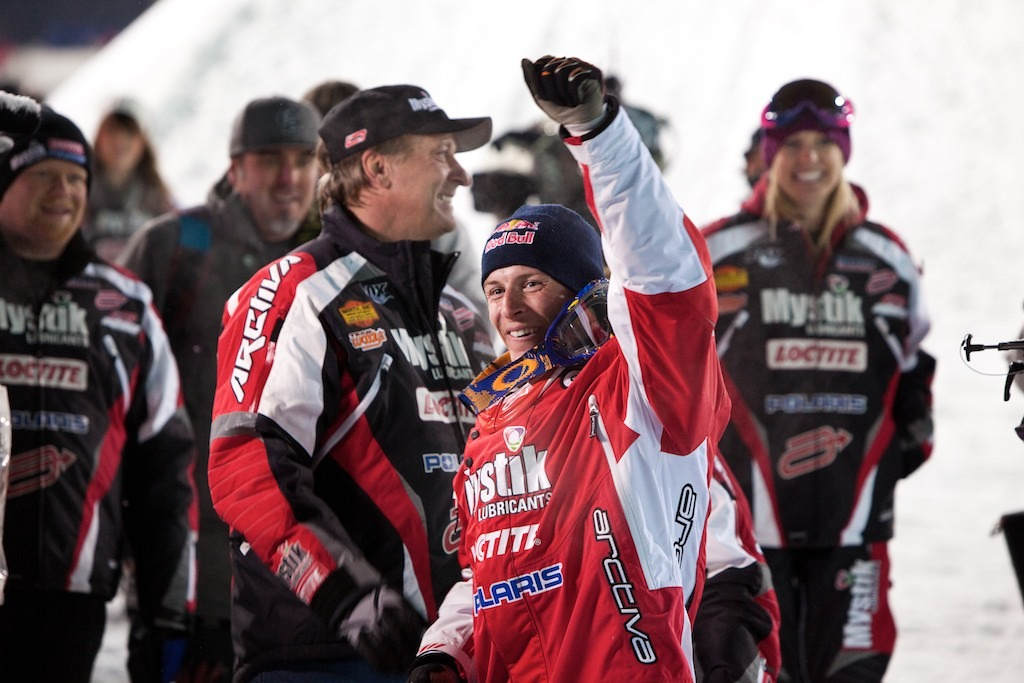 Levi LaVallee celebrates his win in Snowmobile Freestyle. The event marked his first freestyle competition since being injured in 2010.