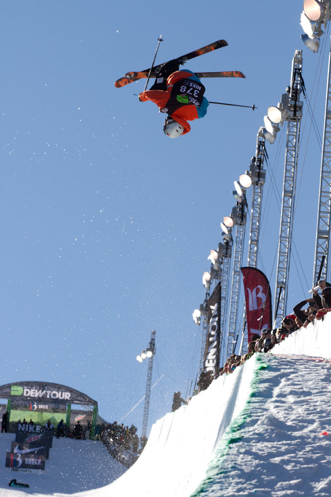A skier gets air during the mens superpipe competition. Photo By Liam Doran