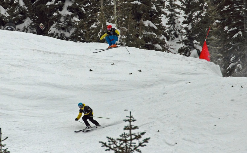 Kyle Smaine sends it in an effort to catch up with Greg Lindsey during the men's ski final at Sugar Bowl 2011. Rahlves' Banzai Tour.