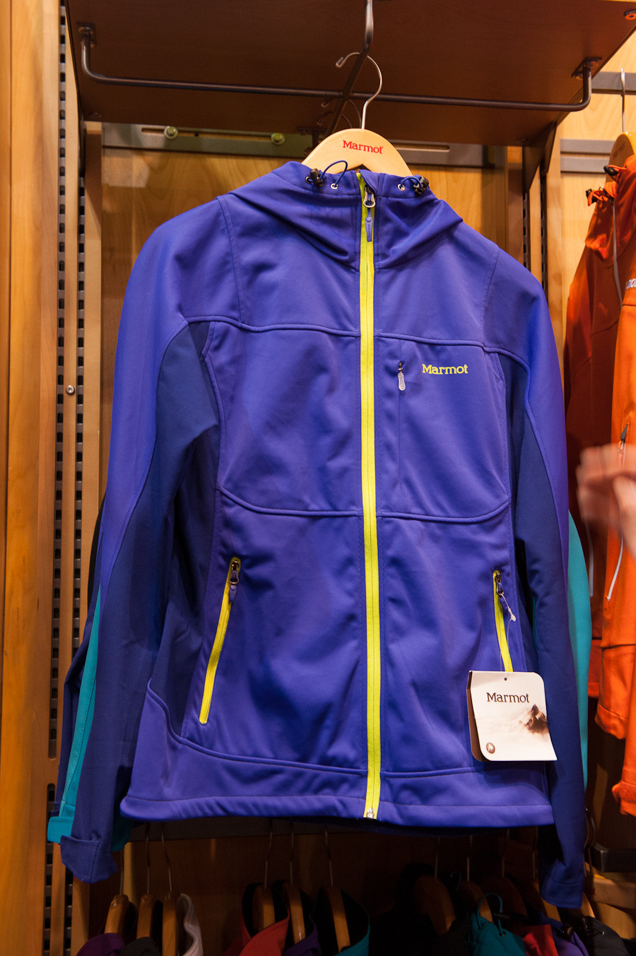 The Marmot Prodigy M2 softshell jacket features a hybrid GORE-TEX® Wind Blocker with stretch panels down the arms.