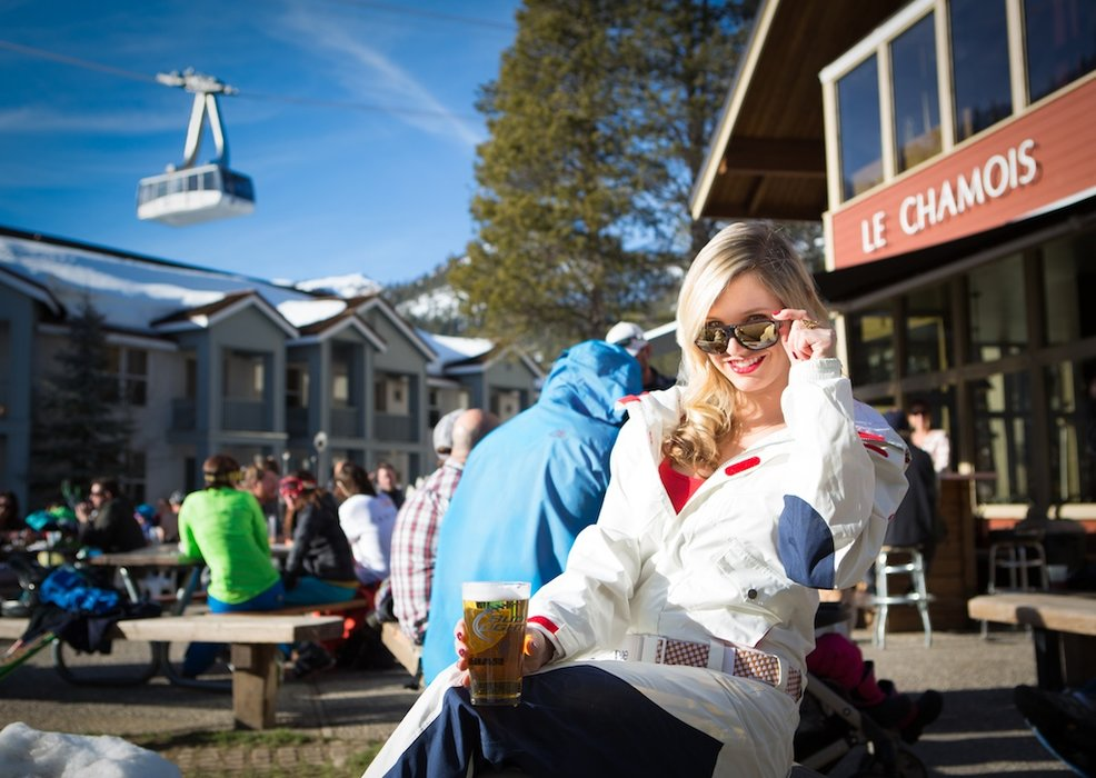 "Amie's father moved out to Squaw after watching the movie ""Hot Dog"" and he never left. The result? A pro skier for a daughter, who likes to meet up with friends at the world-famous Le Chamois."