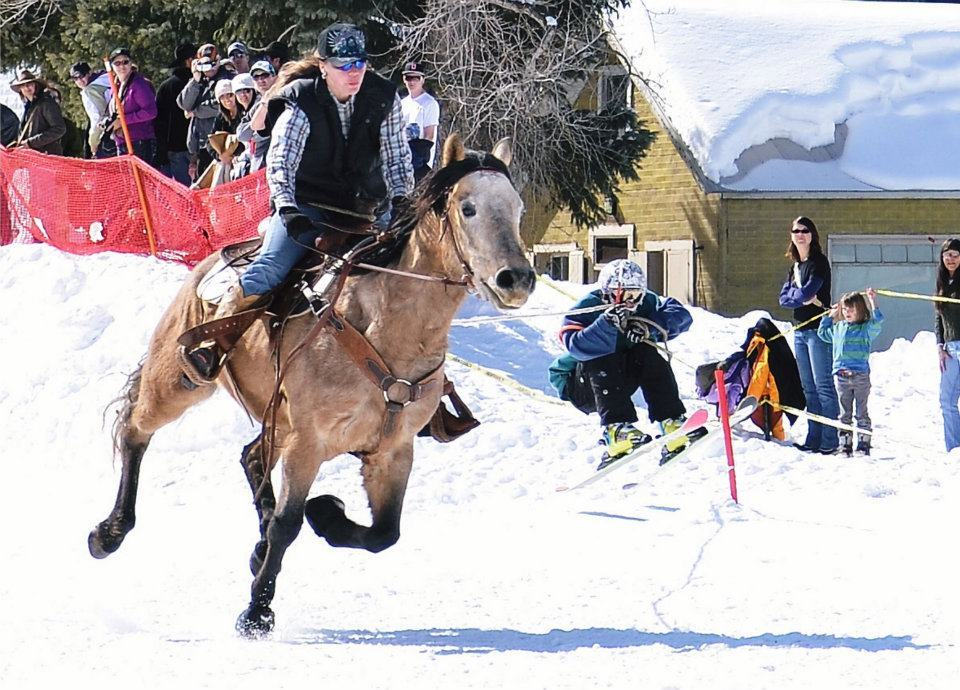 Skijoring makes its way through downtown Silverton, Colo. during the annual Silverton Ski-Joring event.