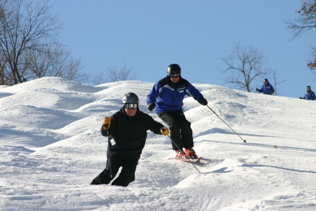 Skiers on the bumps at Minnesota's Welch Village