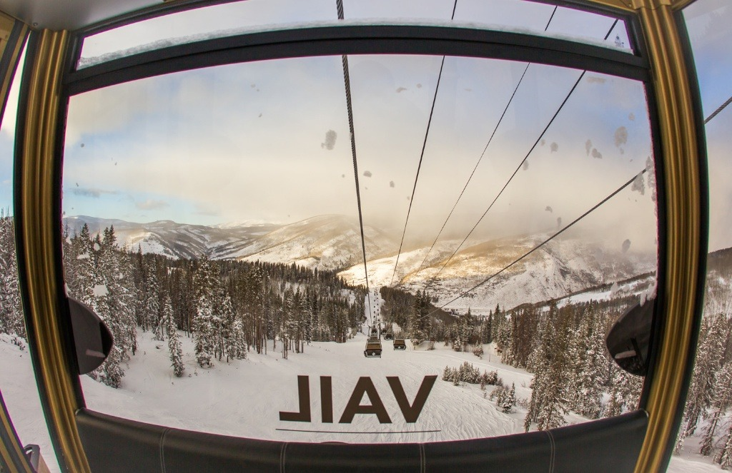 Vail's new Gondola has heated seats and wifi. To celebrate the mountain's 50th anniversary they painted one car gold.