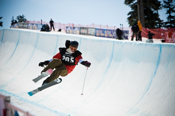 A skier competes in the Superpipe competition on Blackcomb Mountain during the Telus World Ski and Snowboard Festival. Photo by Chad Chomiack/Tourism Whistler.