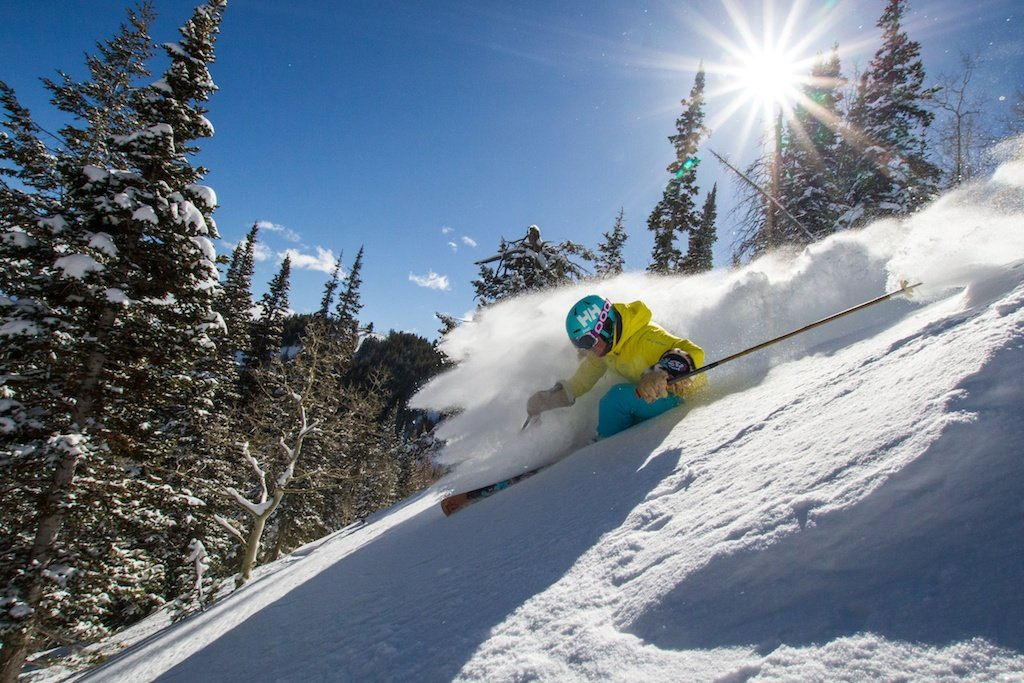 Kaylin Richardson enjoys fresh powder at Park City Mountain Resort, Utah. The resort averages 355 inches of snowfall a year. - ©Liam Doran