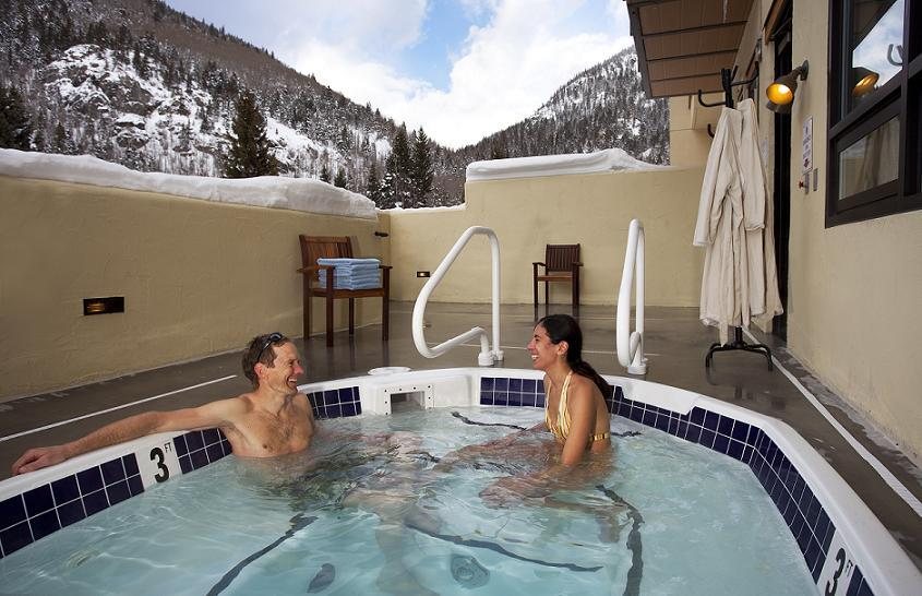 After lapping Taos Ski Valley, the hot tub helps to rest those tired muscles at the Edelweiss Lodge & Spa. - ©Edelweiss Lodge & Spa