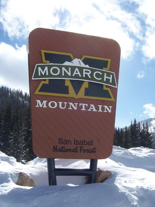 Entrance sign that greets visitors to Monarch Mountain, Colorado.