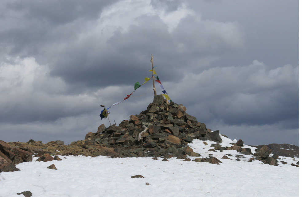 Tibetan prayer flags at the top of Kachina Peak.