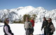 A group of skiers take in the wonderful views of Mt. Baldy Ski Resort, California