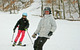 Skier and boarder sharing the slopes at Wild Mountain, MN