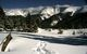 A view of snowshoeing tracks and the surrounding mountains at Winter Park Resort, Colorado