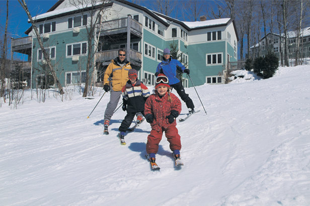 Family skiing at Smugglers Notch, Vermont