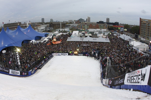 The artificial demo slope and the crowd at London Freeze. - ©Photo by Josh Knox.