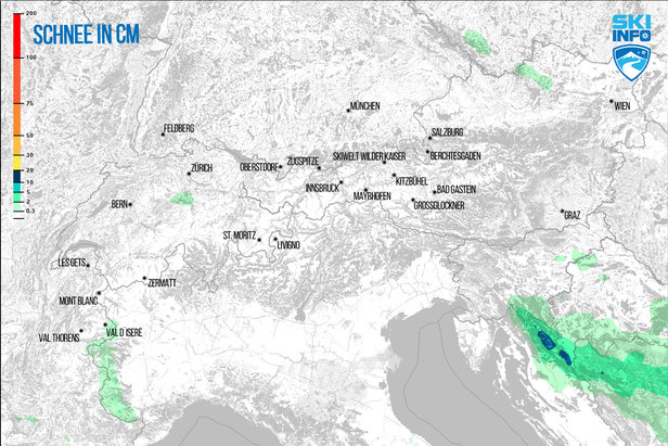 Schneevorhersage für den Alpenraum vom 24.01.2017 (6:30 Uhr) für die nächsten 48 Stunden - ©[c] ZAMG | Skiinfo