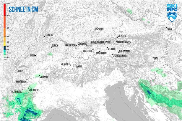 Schneevorhersage für den Alpenraum vom 24.01.2017 (6:30 Uhr) für die nächsten 72 Stunden - ©[c] ZAMG | Skiinfo
