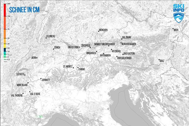 Schneevorhersage für den Alpenraum vom 27.03.2017 (6:30 Uhr) für die nächsten 24 Stunden - ©[c] ZAMG / Skiinfo