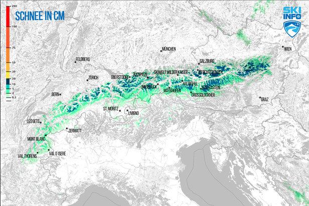 Snehová predpoveď pre Alpy z 7.4.2017 (6:30) na najbližších 96 hodín - ©[c] ZAMG / Skiinfo
