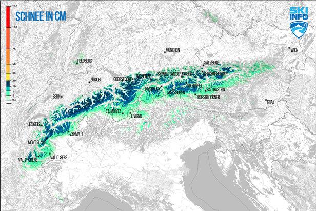 Snehová predpoveď pre Alpy z 15.4.2017 (6:30) na najbližších 24 hodín - ©[c] ZAMG / Skiinfo