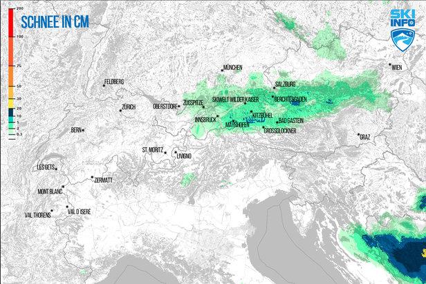 Prognoza opadów śniegu dla Alp z 20.04.2017 (6:30) na najbliższe 48h - ©[c] ZAMG / Skiinfo