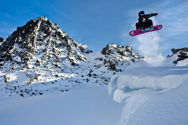 A snowboarder grabs cornice air at Mt. Bachelor. Photo by Tyler Roemer. - ©Tyler Roemer